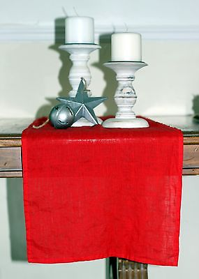 Sale 50% OFF Stone Washed Whisper Flax Linen Table Runner in Bright Red