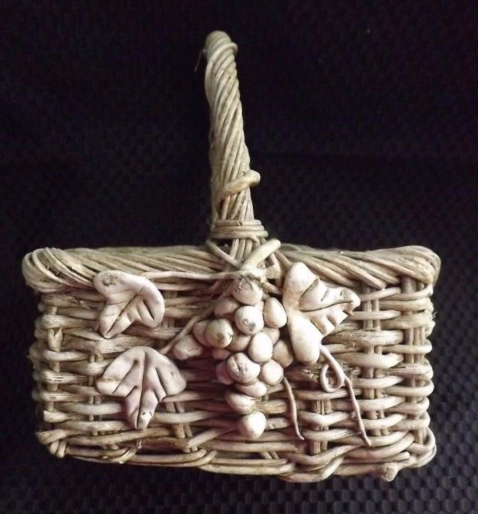 Rustic Shabby Chic Ivy Embellished Handle Basket Collectible Home Decor