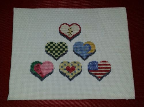 Completed Cross Stitch Finished Hearts