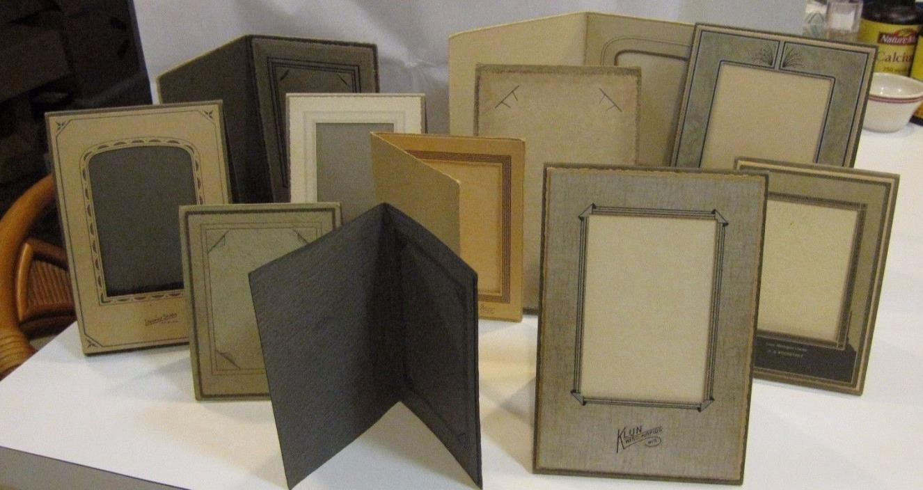 12 Vintage Art Deco Embossed Cardboard Photo Easel Frame Mats
