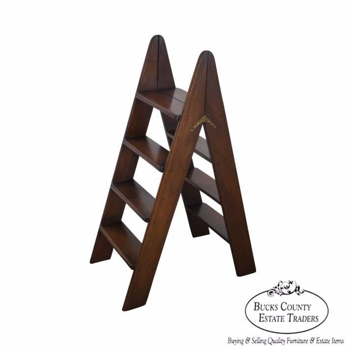 Custom Quality English Mahogany Folding Library Ladder