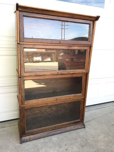 Vintage Oak Lawyer's Cabinet Bookcase Good Cond. 36x59