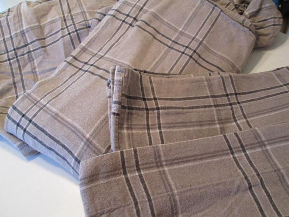 THE COMPANY STORE FLANNEL SHEETS FULL DOUBLE SIZE GRAY BLACK PLAID NORTH WOODS