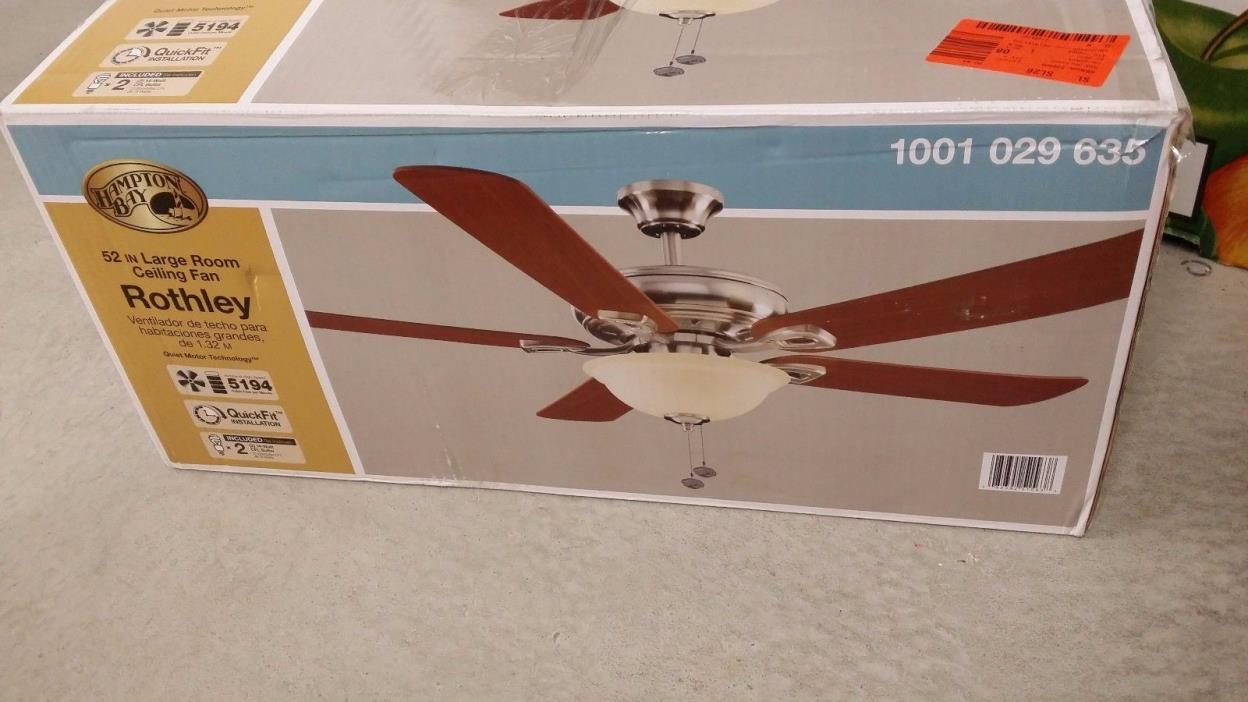 Hampton Bay Rothley 52 in. Indoor Brushed Nickel Ceiling Fan