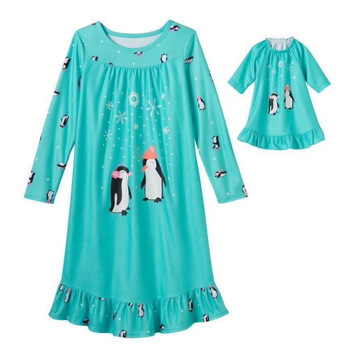 Girls 5/6 5 6 PENGUIN FRIENDS Nightgown Pj's Dollie & Me American Girl Doll New