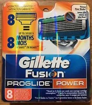 8 Gillette Fusion ProGlide Power Razor Blade Cartridges 100% Genuine New