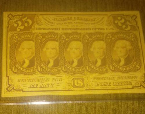 US paper money 25 cents 1862