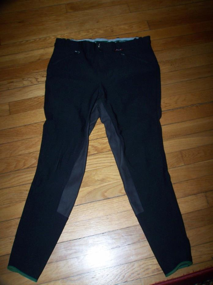 HORKA RIDING WEAR BLACK NYLON SUEDE FULL SEAT RIDING BREECHES PANTS. SZ US 38.