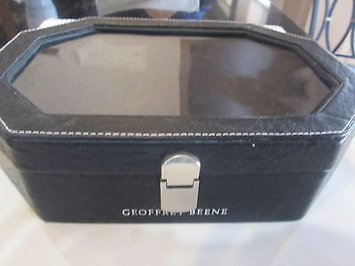 Black Leather Men's Dresser Valet Caddy Jewelry Box Geoffrey Beene 11
