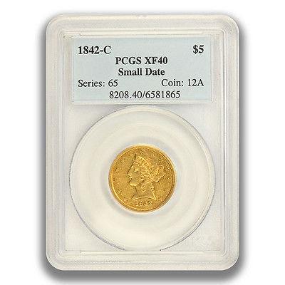 1842-C $5 Small Date Liberty Head Half Eagle PCGS XF40