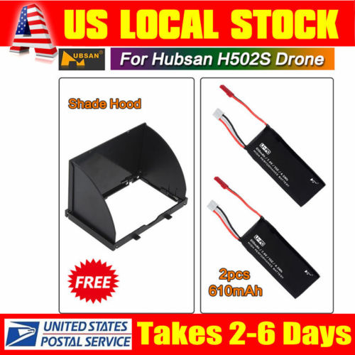 US STOCK For Hubsan H502S Helicopter 2x 610mAh Battery+ 1 Tramsmitter Shade Hood