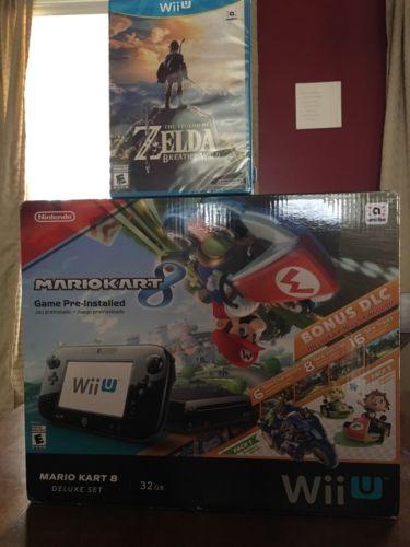 Nintendo Wii U Mario Kart 8 Deluxe Set 32 GB Console with Zelda Breath Wild