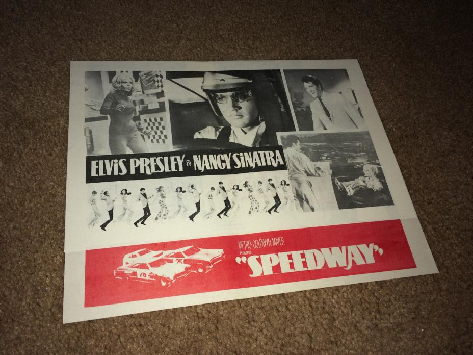 SPEEDWAY Movie Pressbook Herald 1968 Elvis Presley Car Racing Rock & Roll Autos