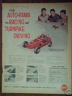 1962 Gilbert Slot Cars AUTO~RAMA Figure 8 Racing Track Promo Toy Trade Ad