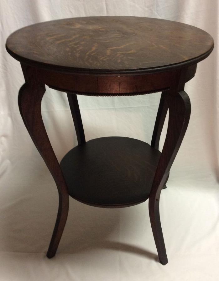 Antique 1800s Solid Wood Quarter Sawn Tiger Oak 2 Tier Parlor Lamp Center Table