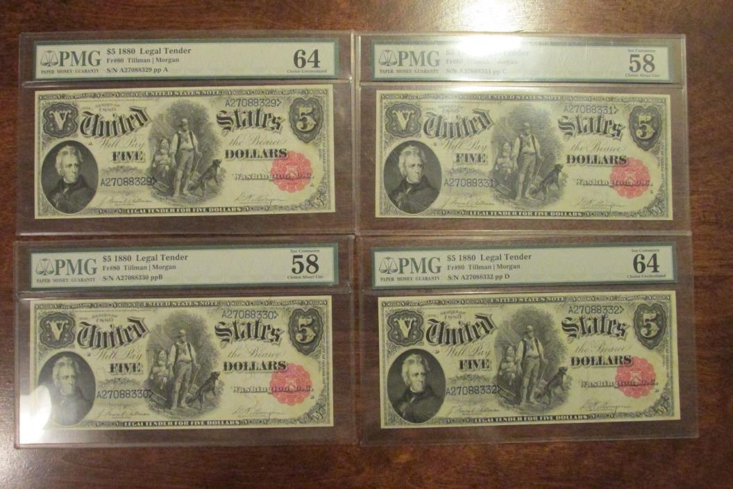 Set of 4 Consecutive Woodchopper Legal Tender Notes Fr#80 1880 $5 PMG UNC-64
