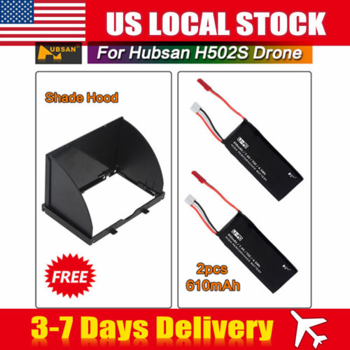 USA! 7.4V 610mAh 15C Battery +Shade Hood Part For Hubsan H502S X4 RC Quadcopter