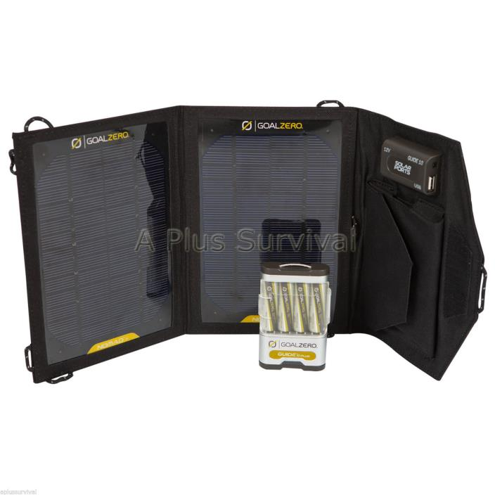 Goal Zero Guide 10 Plus Adventure Kit New Charging Solar Panel and 4AA Batteries