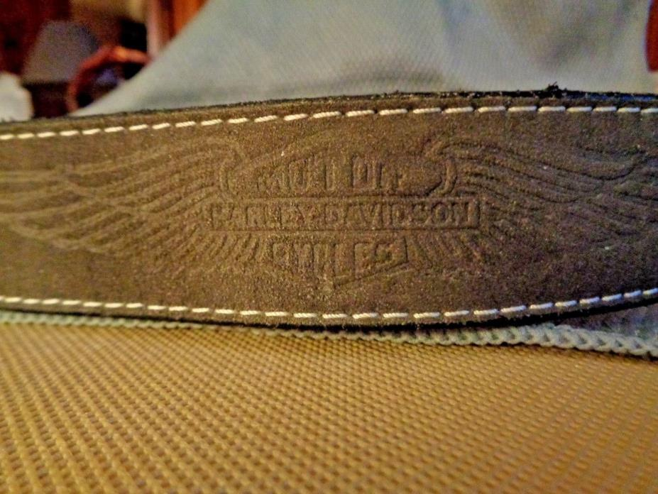 Harley-Davidson NOS Belt w/Buckle - Leather - USA Made  Size 28 Embossed Suede