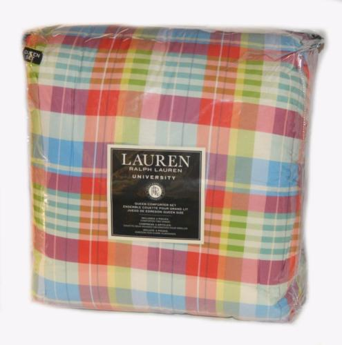 RALPH LAUREN Woodrow Plaid 3P QUEEN COMFORTER SET NEW Orange Blue Green Purple