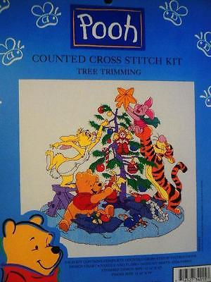 POOH TREE TRIMMING Counted Cross Stitch Kit