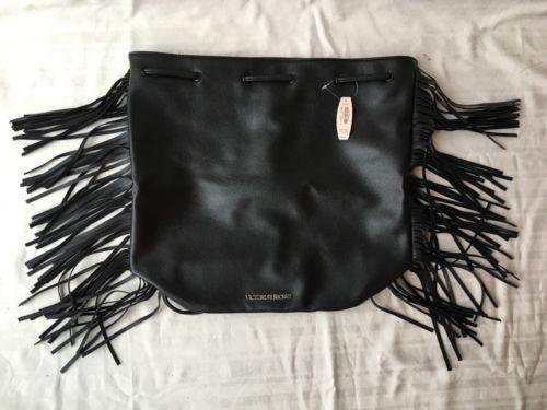 Victoria's Secret Official Fashion Show Bag 2015 Black Leather Fringe $85 NEW!