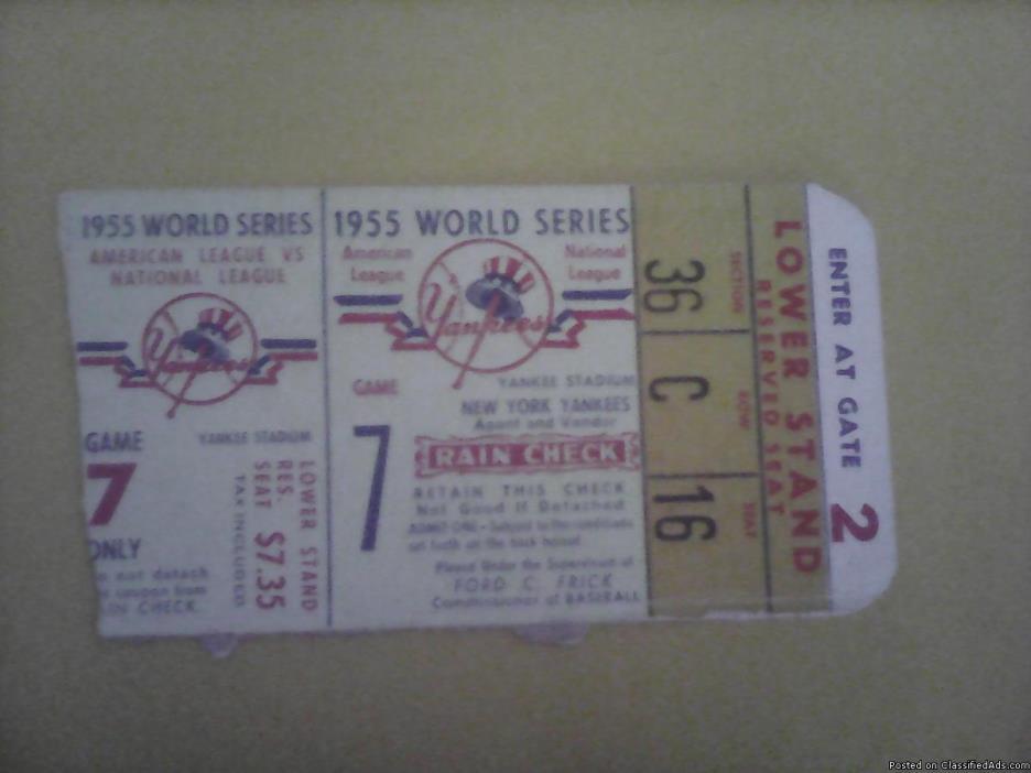 1955 Ticket Stub New York Yankee's