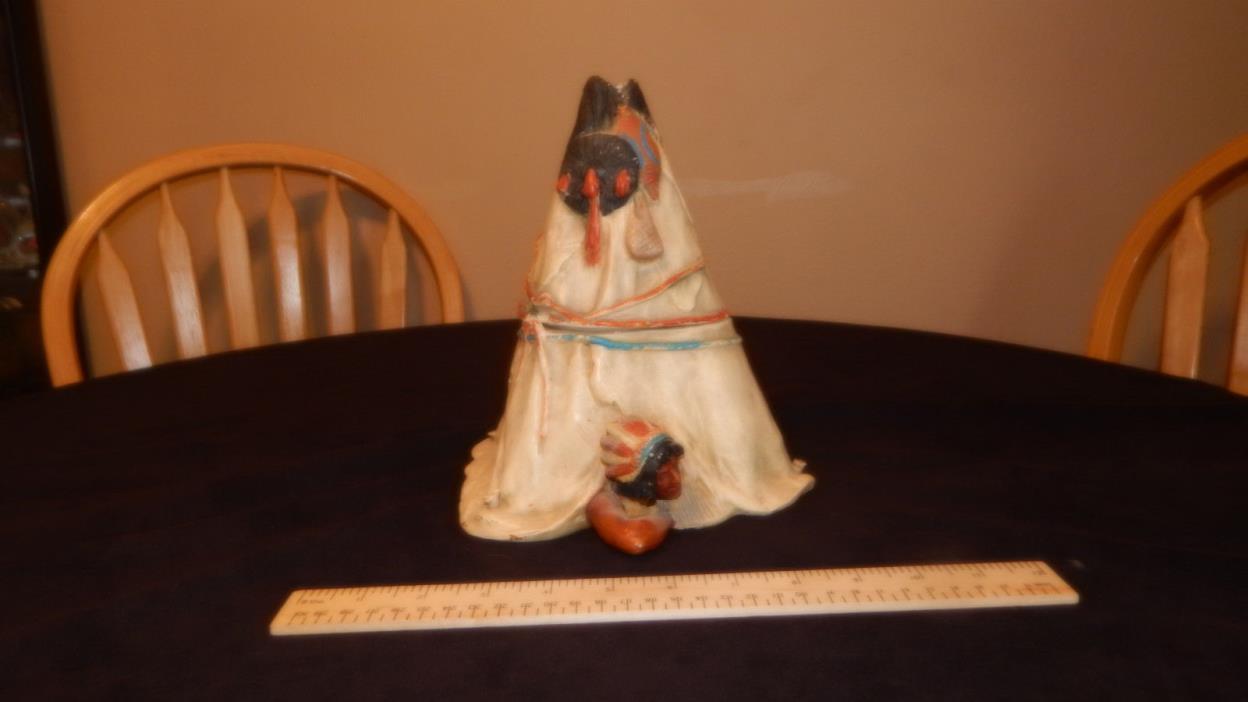 Antique Ceramic Teepee Humidor Tobacco Jar
