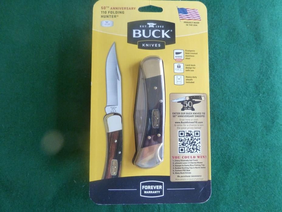 New Buck  knife 110 50th anniversary with leather sheath unopened made in USA.