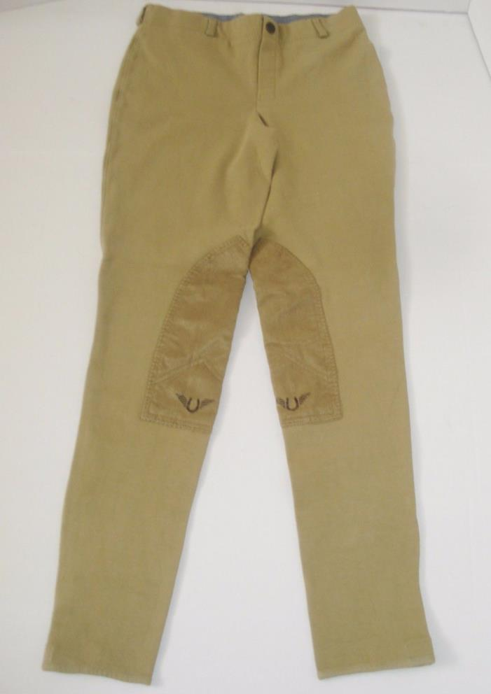 TuffRider Horse Riding Cotton/Lycra Sand Low-Rise Pull-On Ladies Breeches Sz 28