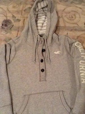 HOLLISTER Gray Hooded Zip Front Sweatshirt Hoodie Boys Large L