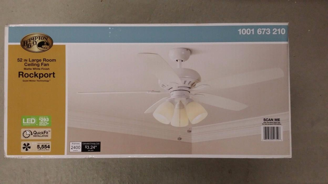 Rockport 52-inch Large Room Ceiling Fan - Hampton Bay