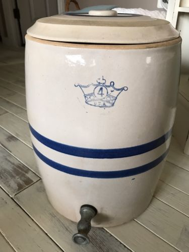ANTIQUE  BLUE STRIPED CROWN (2) GALLON STONEWARE CROCK WATER COOLER