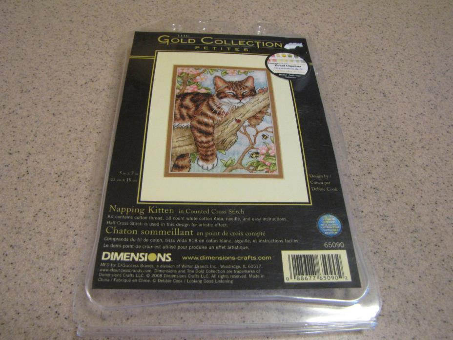 The Gold Collection Counted Cross Stitch  Napping Kitten  New