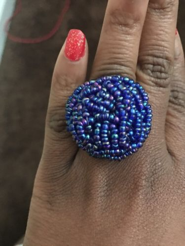 Blue Rose Beaded Ring