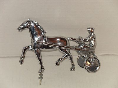 CHROME HOOD ORNAMENT HORSE JOCKEY HARNESS RACING
