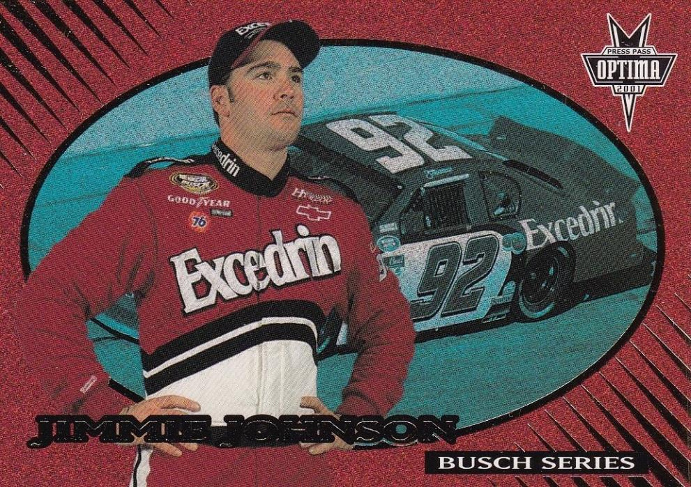 inv1635 jimmie johnson 2001 press pass optima card #32 gold excedrin