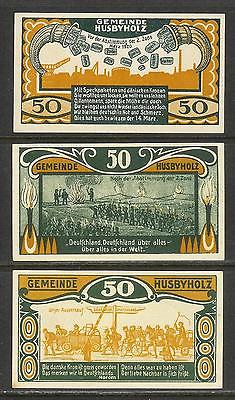 GERMANY (Husbyholz) - Matching Set of 3 Diff. GUTSCHEIN Banknotes (1921) UNC.