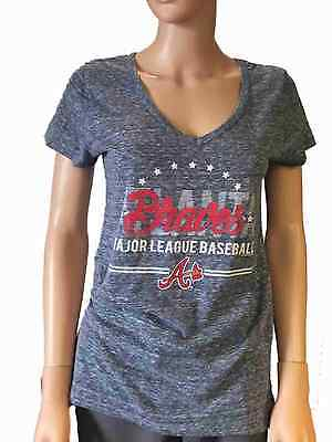 Atlanta Braves SAAG Women Navy Loose Soft Baseball V-Neck T-Shirt