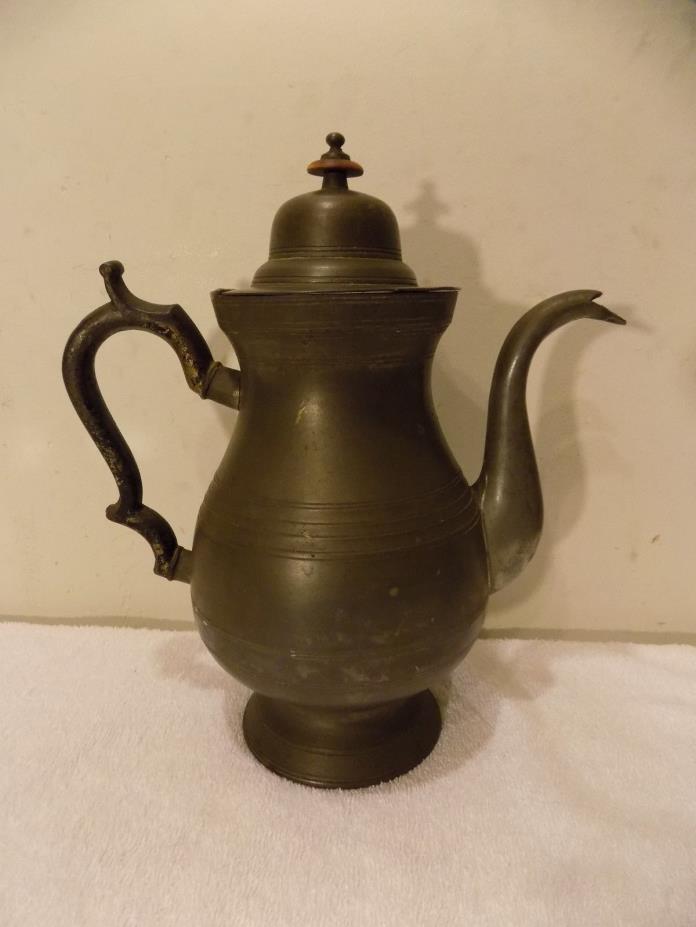 Antique 19th Century Pewter Teapot Coffee Pot