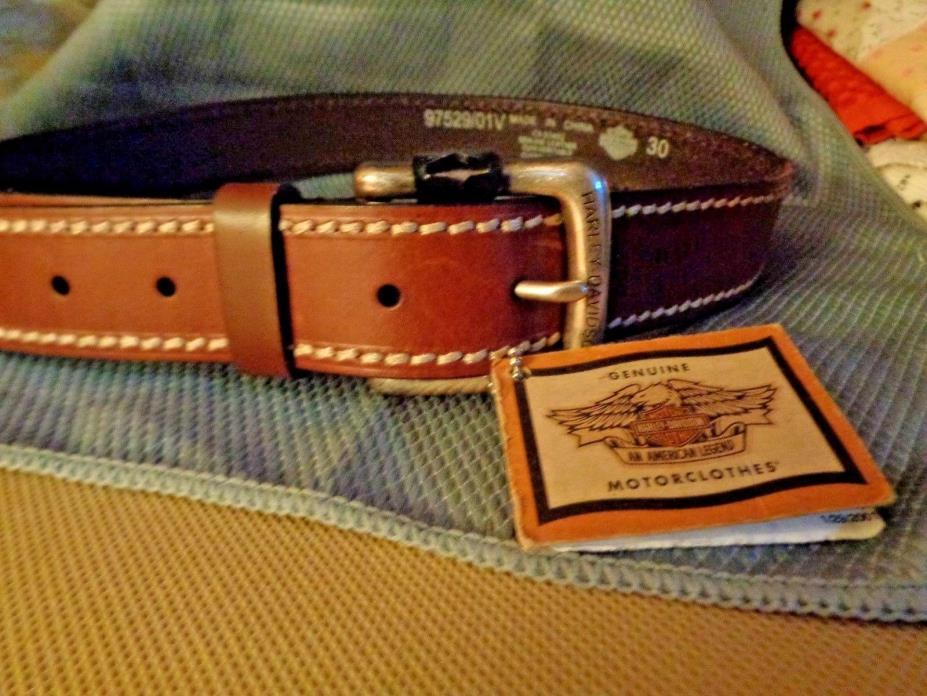 Harley-Davidson NOS Belt w/Buckle - Leather - Size 30 Brown, SaddleStitch Accent