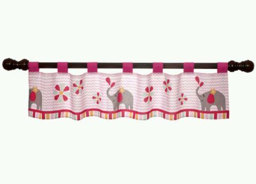 Jungle sweeties valance curtain elephant flower pink chevron lambs & ivy nursery