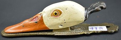 ANTIQUE CAST IRON DUCK DECOY PAPER NOTE/CLIP HOLDER w/GLASS EYES