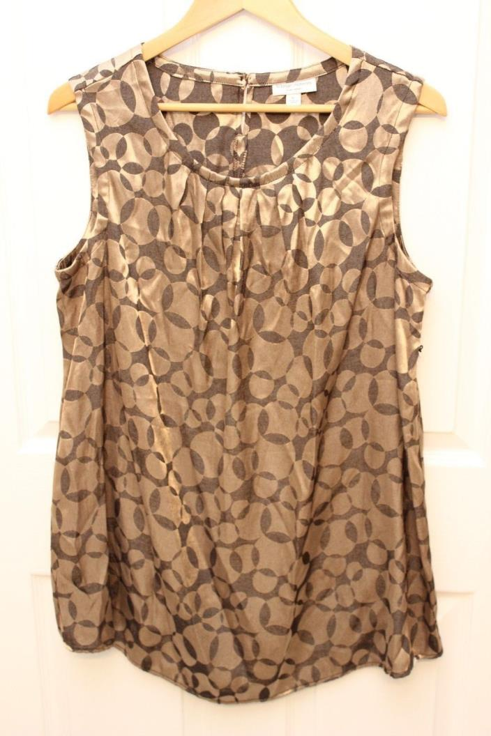Liz Lange Maternity Top Target Gold & Black Geometric Circle Print Tunic XL