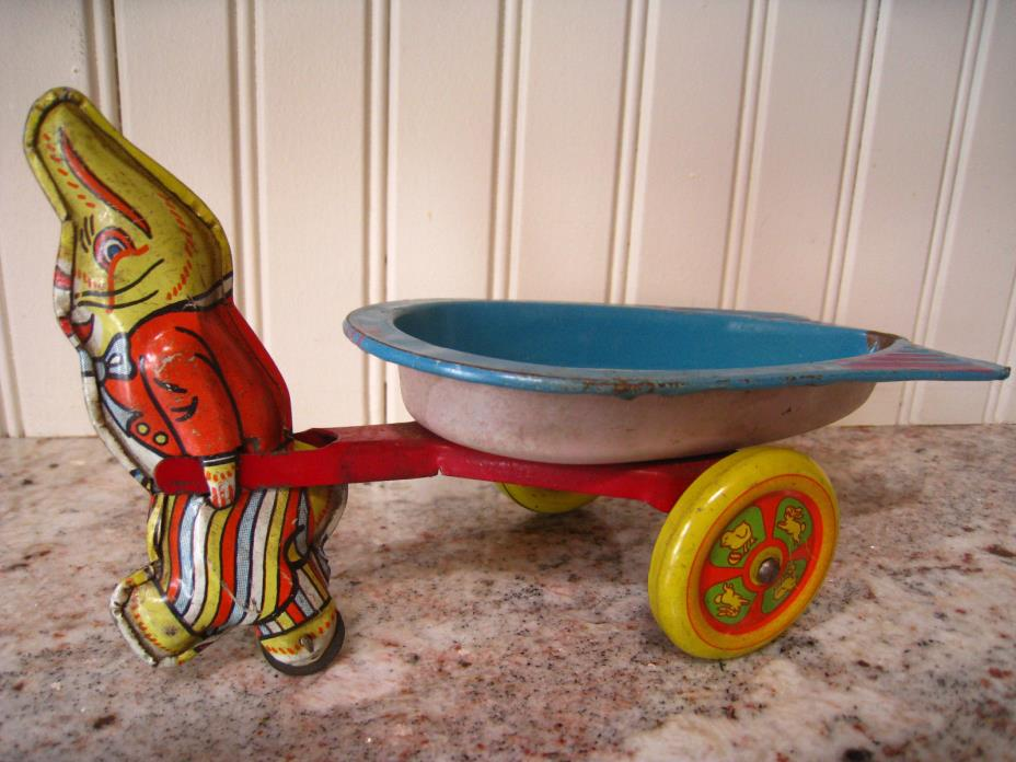 VNTG Tin Lithographed Toy Rabbit Bunny Pulling Cart Wagon Easter WYANDOTTE TOYS