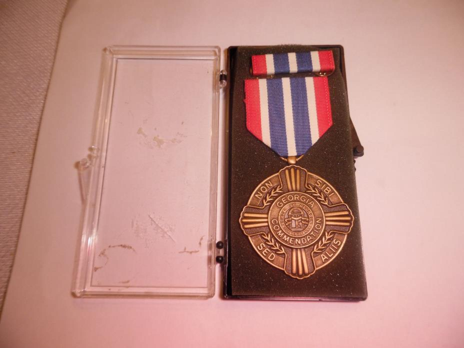 vintage usa national guard medal (georgia commendation),ribbon and bar