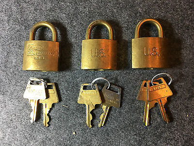 3 American Lock Company Solid Brass Padlocks 5340-00-682-1508 -New In Box 2 Keys