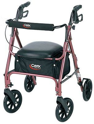 Rolling Walker Rollator with Padded Seat and Backrest Walkers Canes Health Elder