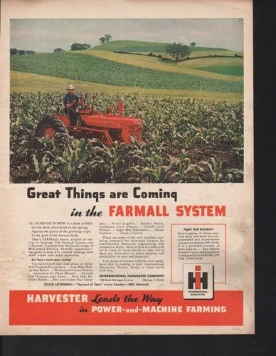 1946 INTERNATIONAL HARVESTER TRACTOR FARM CORN FIELD AD10330