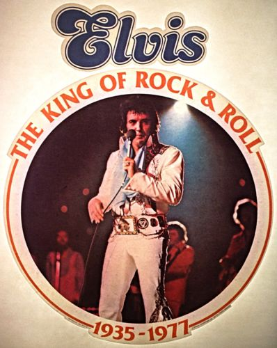 Vintage 1977 Elvis Iron-On Transfer King Of Rock And Roll 1935-1977 RARE!